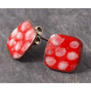 Dotty Red and White Ear studs enamelled on Copper