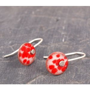 Round Enamel Drop Earrings with Red