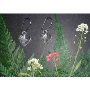 Handmade faceted resin heart drop earring - Clear Sparkle