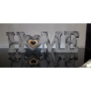 'HOME' Self-Standing Ornament / Sign - White Marbled - Handmade and Unique