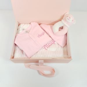 Welcome to the world keepsake box and gift set - Pink