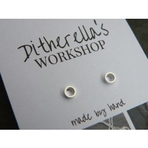Sterling silver stud earrings: Small Ring