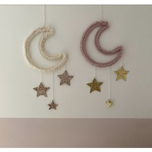 Large Moon Hanging with 3 Glitter Stars