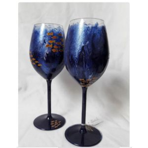 Pair of Handpainted blue shimmery wine glasses with Orange and gold fish design