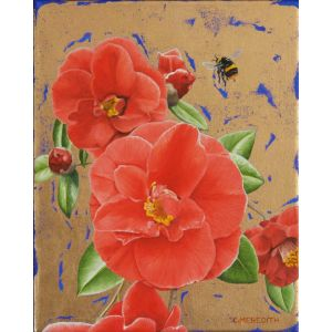 Camellias and Bumblebee