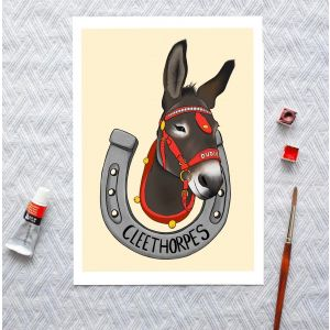 Cleethorpes Donkey 'Dudley' A4 or A5 art print, seaside illustration