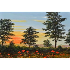 'Evening Poppies at the Fields Edge' original oil painting by David Starley