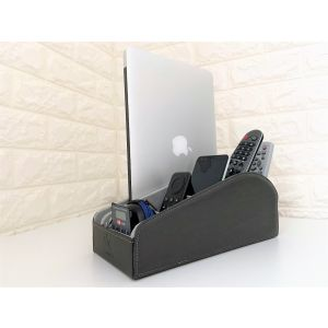 Homeze Multi-Device Holder - Desk Organiser & Docking Station for TV Controller, Phone, Tablet & Gadgets - Leather Electronics Caddy & Storage for Home and Office Table, Sofa & Shelf - Grey