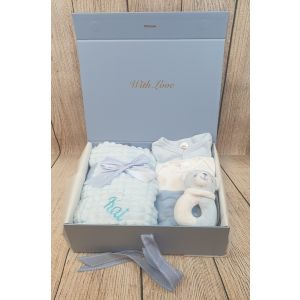 Welcome to the world keepsake box and gift set - Blue