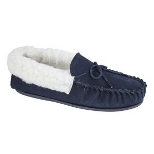'EMILY' Navy Real Suede Fur inner Moccasins