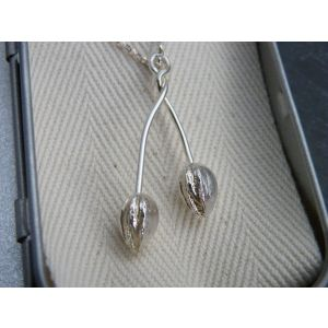 Sterling silver pendant necklace: double cherry stone