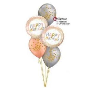 Rose Gold Birthday balloons, bunting and candles.