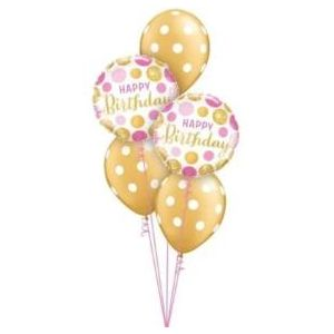Pink and Gold Birthday balloons, bunting and candles.