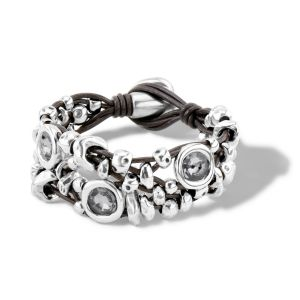 UnoDe50 Leather and Silver Swarovski My Becoming Bracelet