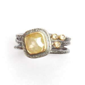 Silver, 18ct gold and diamond ring