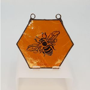Stained Glass Hand Painted Bee Hanger
