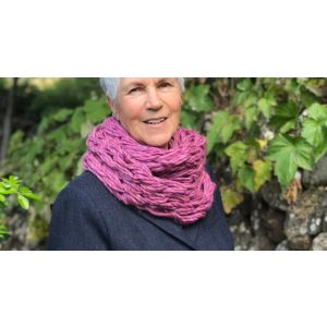 Merino wool double snood - Pink & Purple