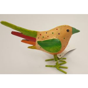 Hand Painted Iron Dotty Standing Bird – Yellow