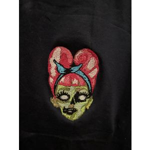 Personalised Embroidered Pin-up Rockabilly Zombie Head T-shirt, Ladies t-shirt, Navy T-shirt