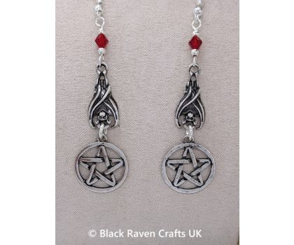 Gothic Vampire Bat and Protective Pagan Pentagram Earrings - Red Beads