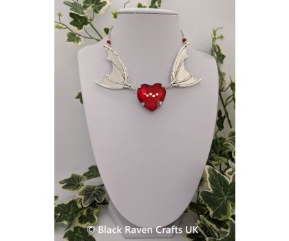 Antique Silver Gothic Bat Wing Vampire Necklace Red Glass Crystal Heart
