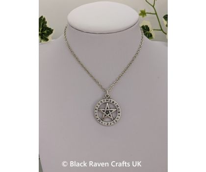 Protective Pentagram Necklace with Viking Runes