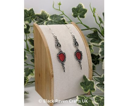 Gothic - Rock Vampire Bat Earrings with Red Enameled Hand Mirror shaped Charm
