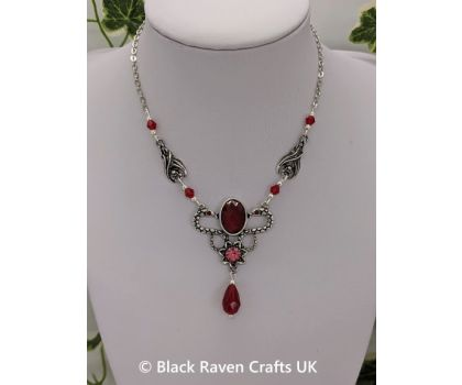 Gothic Vampire Bat and Red Eyed Snakes Necklace with Red Crystal Teardrop Beads