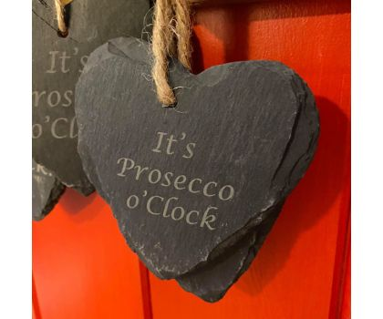 DabHand Laser Craft - It's Prosecco O'clock Slate Love Heart