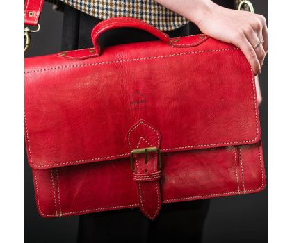 The Casablanca Leather Satchel Red
