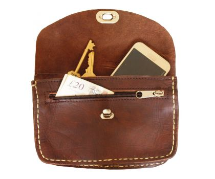 Leather Shoulder Bag with Clasp in Dark Brown