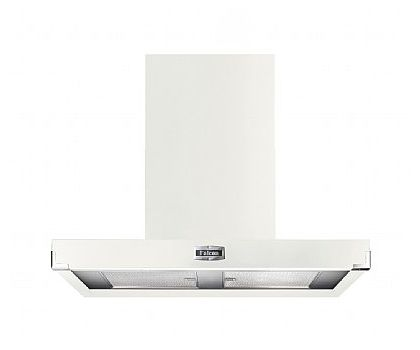 Falcon 91050 1090 Contemporary Chimney Hood in Ice White & Brushed Chrome Trim