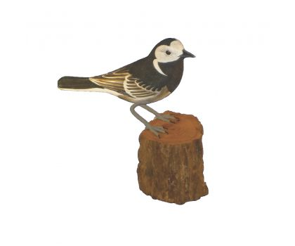 Hand Carved & Hand Painted Wooden Bird - Pied Wagtail