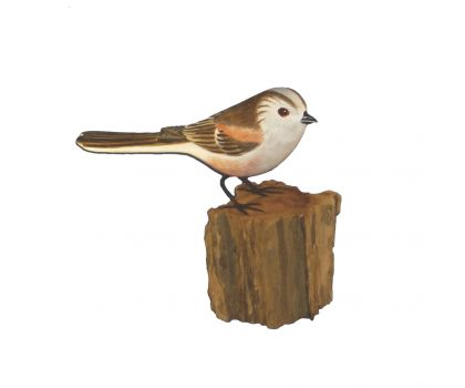 Hand Carved & Hand Painted Wooden Bird - Long Tailed  Tit