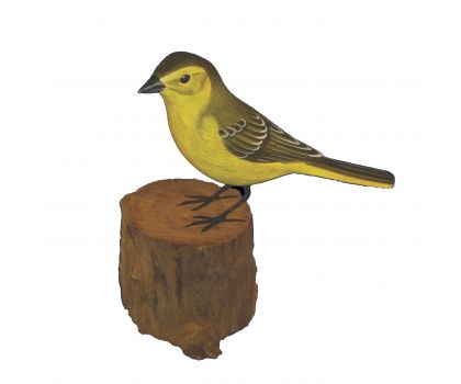 Hand Carved & Hand Painted Wooden Bird - Yellow Wagtail