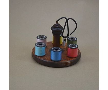 Antique Bobbin Thread Stand, Scissors and 6 Reels of Yarn