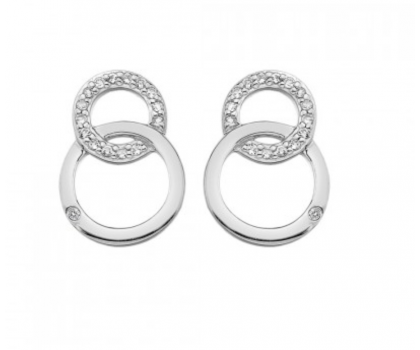 Hot Diamonds Sterling Silver Double Circle Stud Earrings