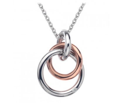Hot Diamonds Sterling Silver and Rose Gold Plated Interlocking Pendant and Chain