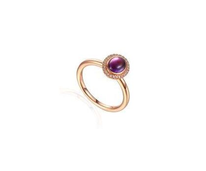 9ct Rose Gold Amethyst and Diamond Cluster Ring