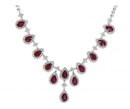 18ct White Gold Ruby and Diamond Set Necklet