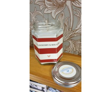Strawberry and Rhubarb Hand Poured Soy Wax Candle in a jar