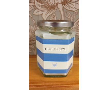 Fresh Linen Hand Poured Soy Wax Candle in a jar