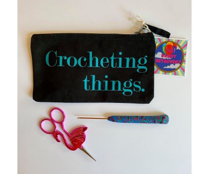 The Dandy Introvert - Craft Project Pouch, Crocheting Things (Black and Turquoise)