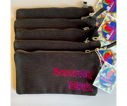 The Dandy Introvert - Craft Project Pouch, Measuring Things (Black and Holographic Purple)