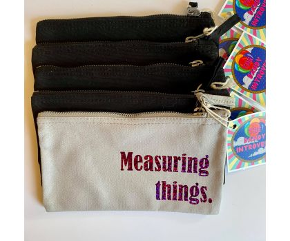 The Dandy Introvert - Craft Project Pouch, Measuring Things (Grey and Holographic Purple)