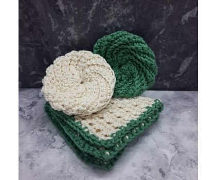 One pure cotton hand-crocheted face scrubby