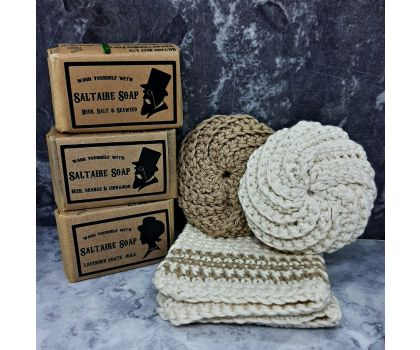 Soap Gift Set, hand-crocheted basket filled with handmade soaps, wash cloth and scrubbies.