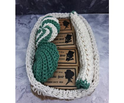 Soap Gift Set, hand-crocheted basket filled with four handmade soaps, wash cloth and scrubbies.