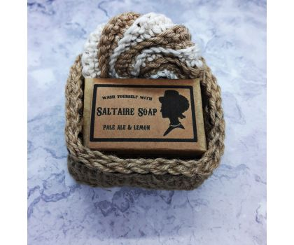 Soap Gift Set, hand-crocheted basket filled with one handmade soap, choice of scrubby