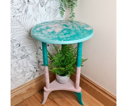 Pink and Green Marble Effect Ombre Plant Stand/ Table